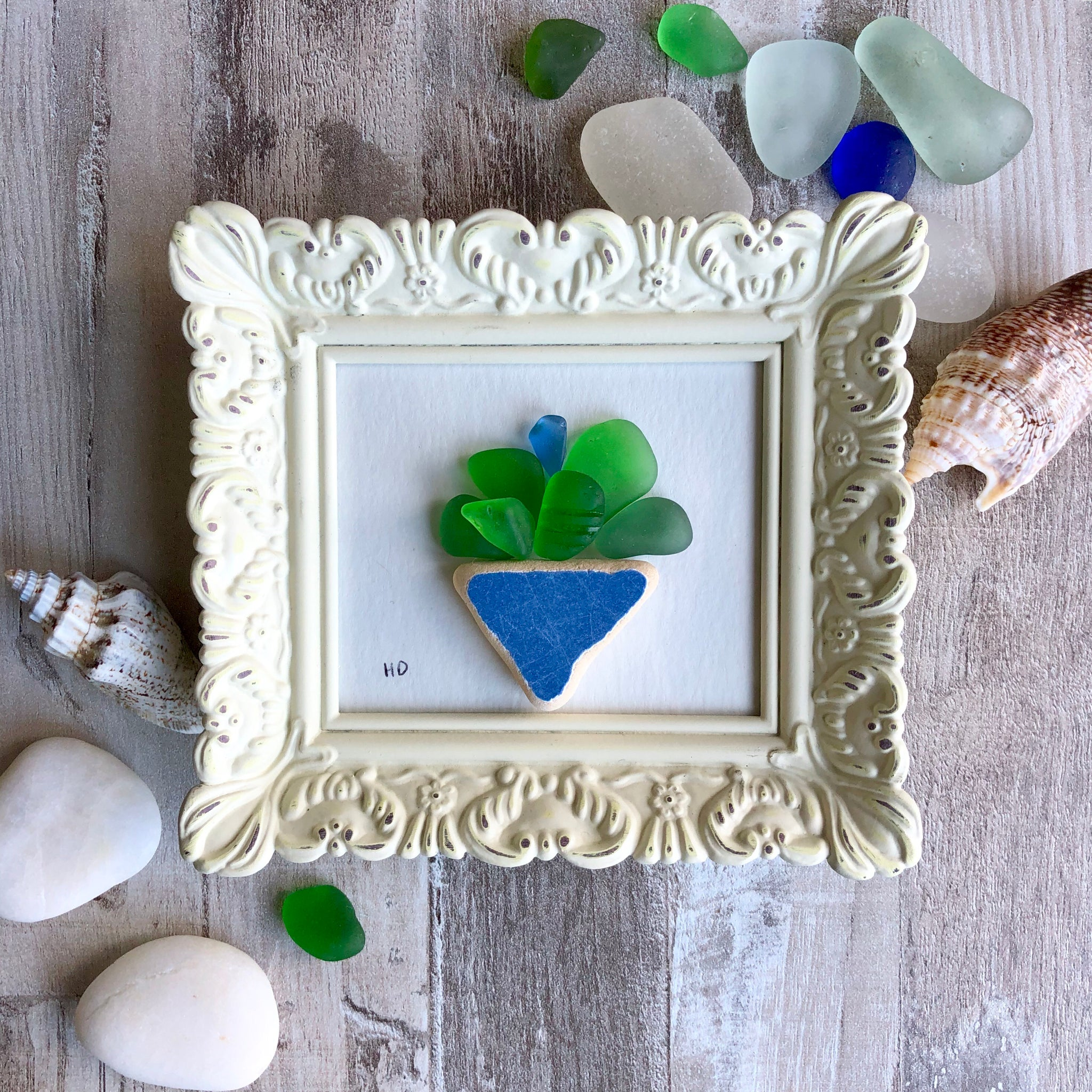 Flowers In A Blue Vase - Miniature Sea Glass Art
