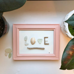 Beach Love Framed 5x7 Seaglass Art
