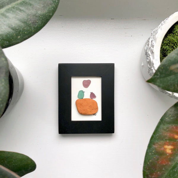 Love Birds Hawaiian Seaglass Art - Mini Frame