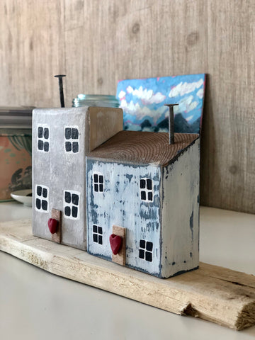 Sumter Blue & Monument Grey Handmade Miniature Seaside Cottage Folk Art Set