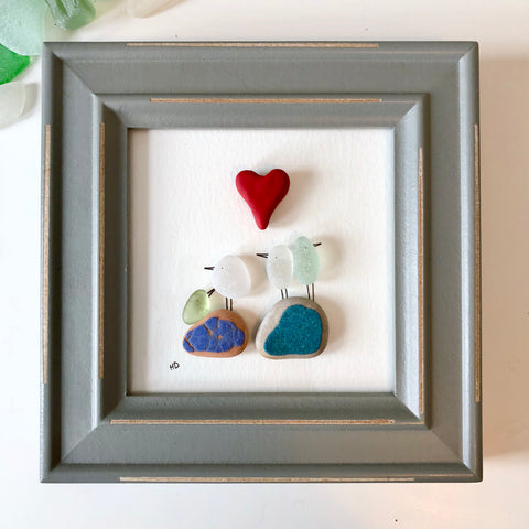 Sea Birds Family - 4x4 Framed Seaglass Art