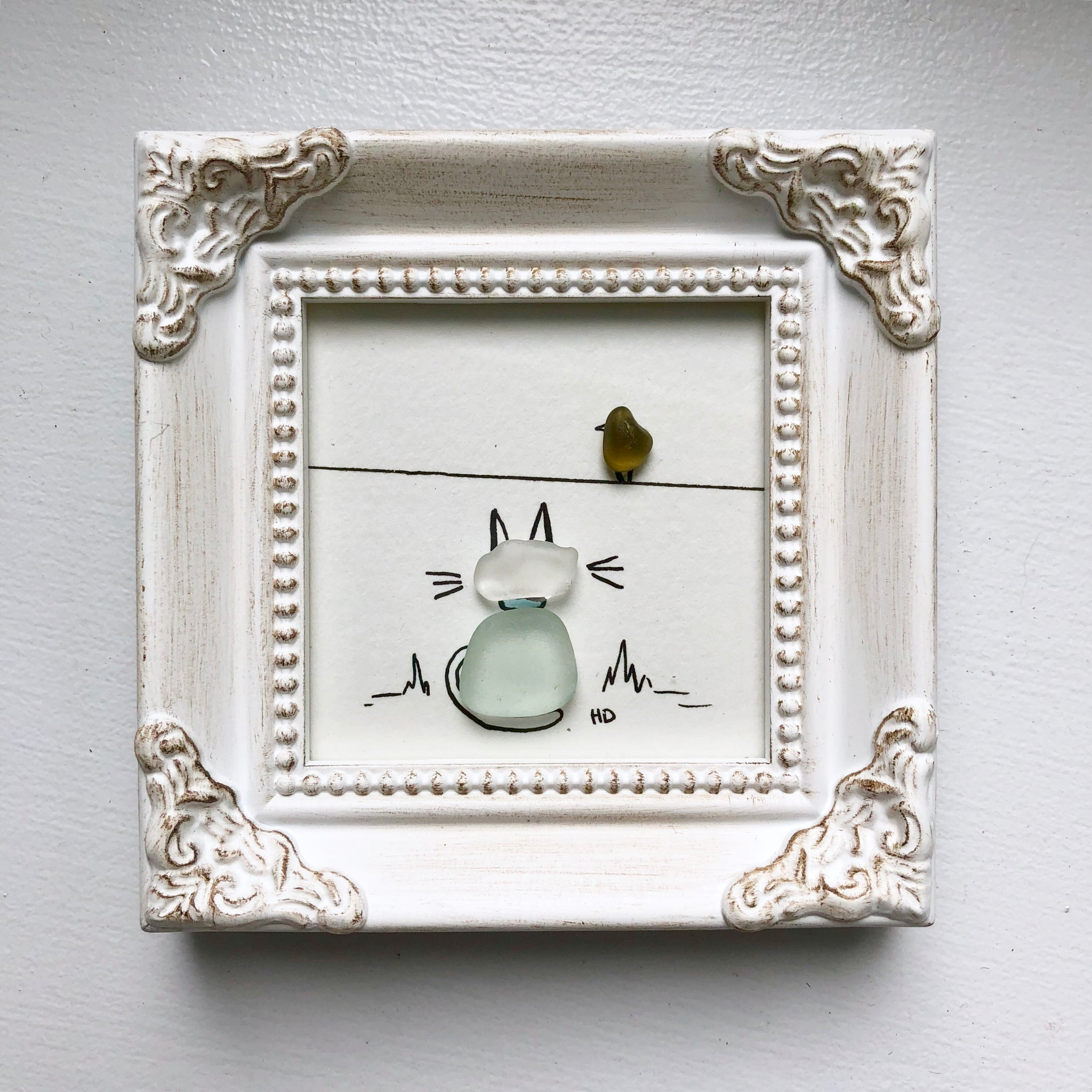 Bird Watching - Tiny Framed Seaglass Art