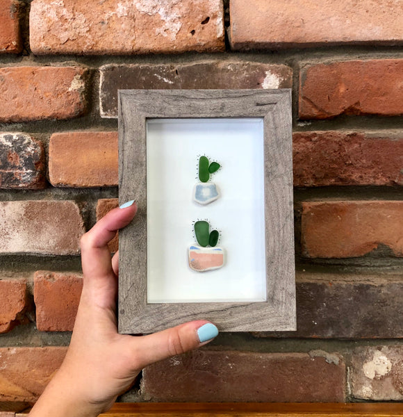 Reclaimed Wood Whale & Tiny Cactus Seaglass Art