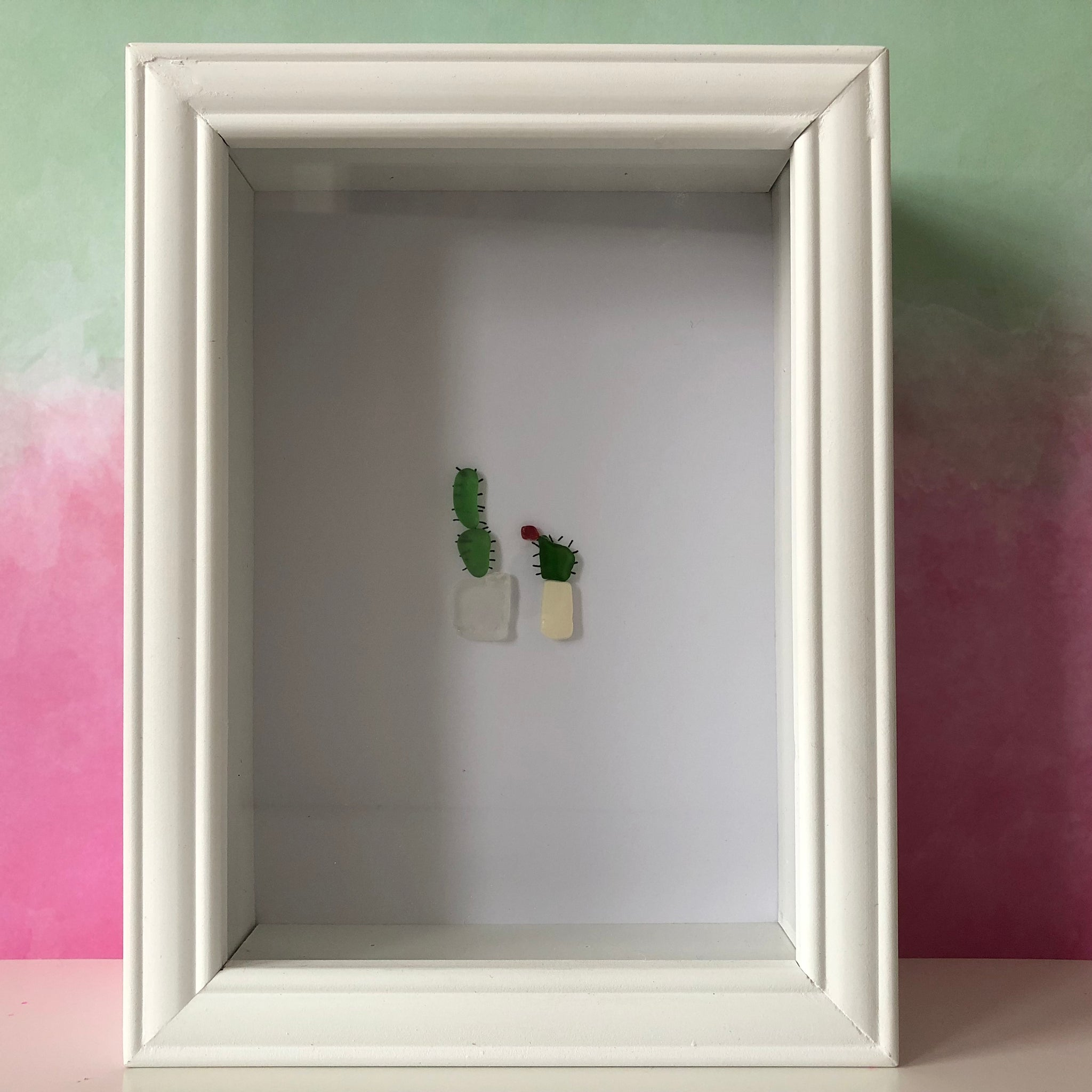 Flowering Cactus Plants Framed Seaglass Art