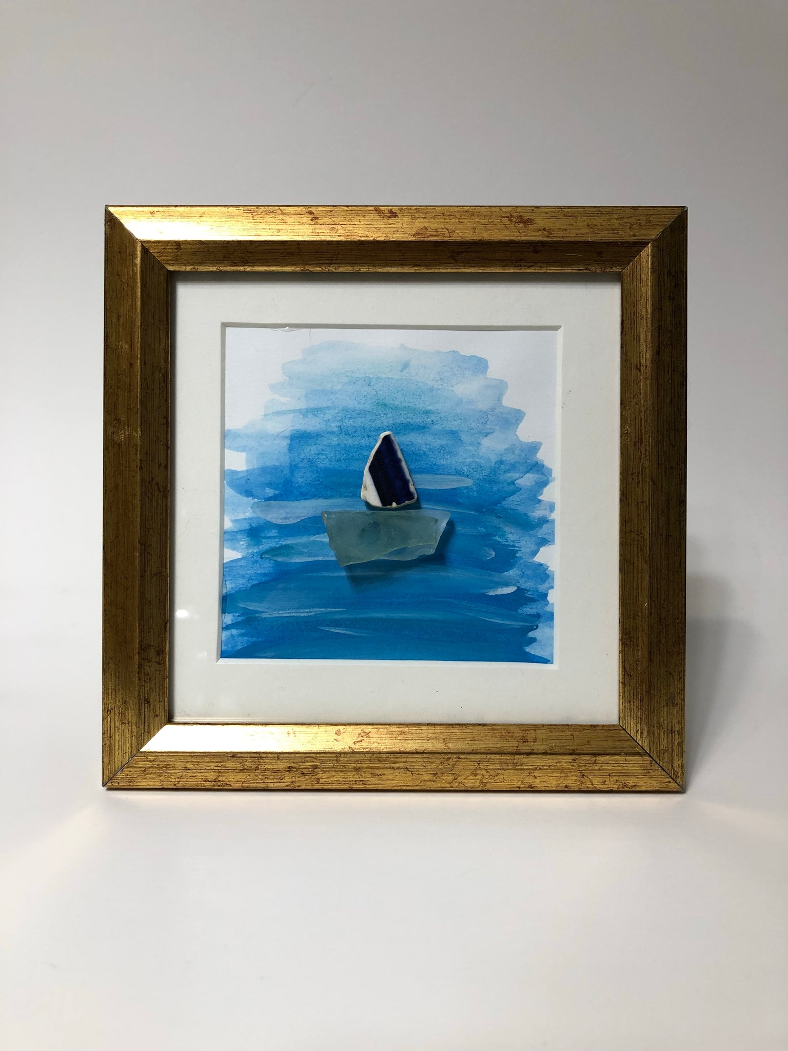 Sailboat  - Framed Seaglass Art