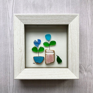 Spring Garden - Miniature Shadowbox Seaglass Art