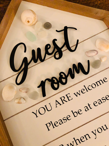 Sea Glass Beach Guest Room Wood Sign