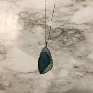 Icy Blue Agate Necklace
