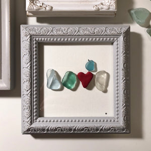 Momma Bird - 4x4 Framed Seaglass Art