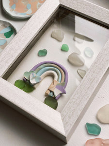 Rainbow Cheer Clay & Sea Glass Art