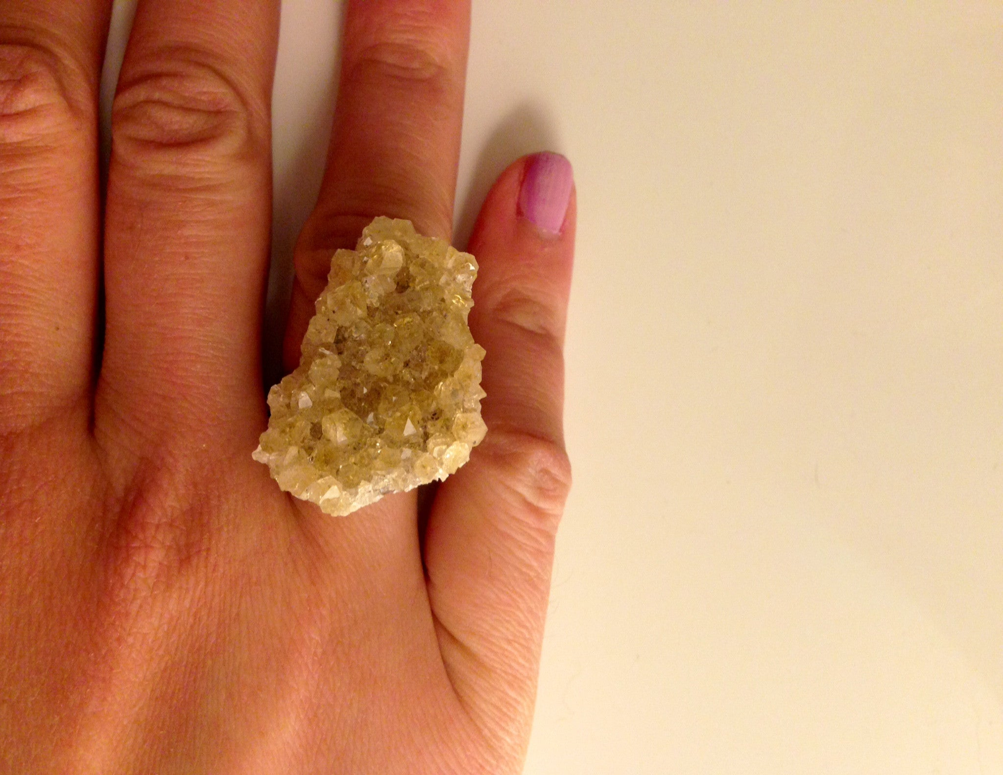 Large Citrine Druzy Ring