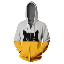 Load image into Gallery viewer, Unisex Peek-A-Boo Bi Color Cat Hoodie