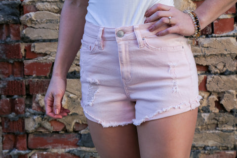 High Rise Pale Pink Denim Shorts