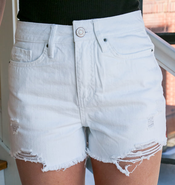 Willow White Distressed Denim Shorts