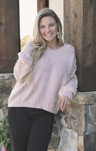 Dusty Pink Distressed Sweater * LAST ONE
