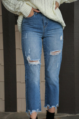 High Rise Fray Ankle Denim