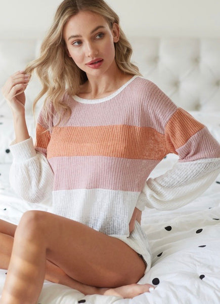 Jasmin Ribbed Colorblock Top