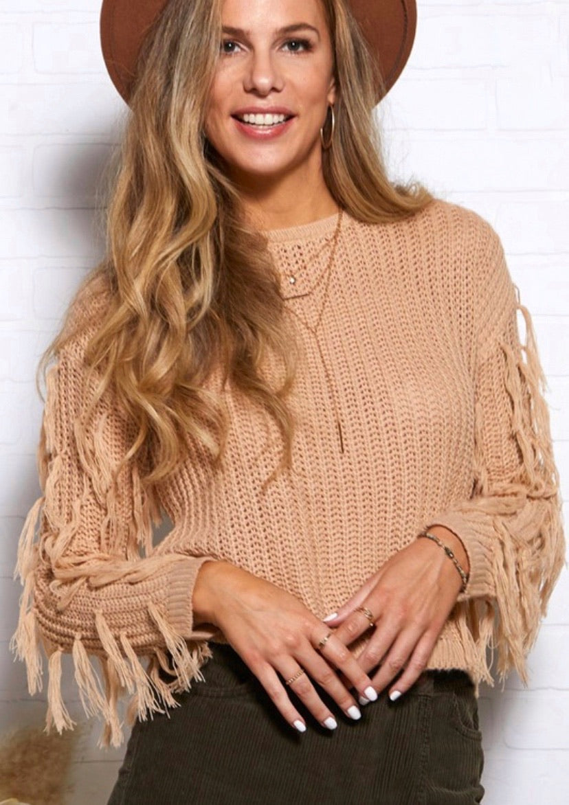 Fringe Taupe Sweater