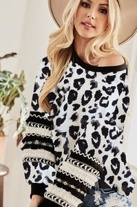 Leopard Print Party Sleeve Top