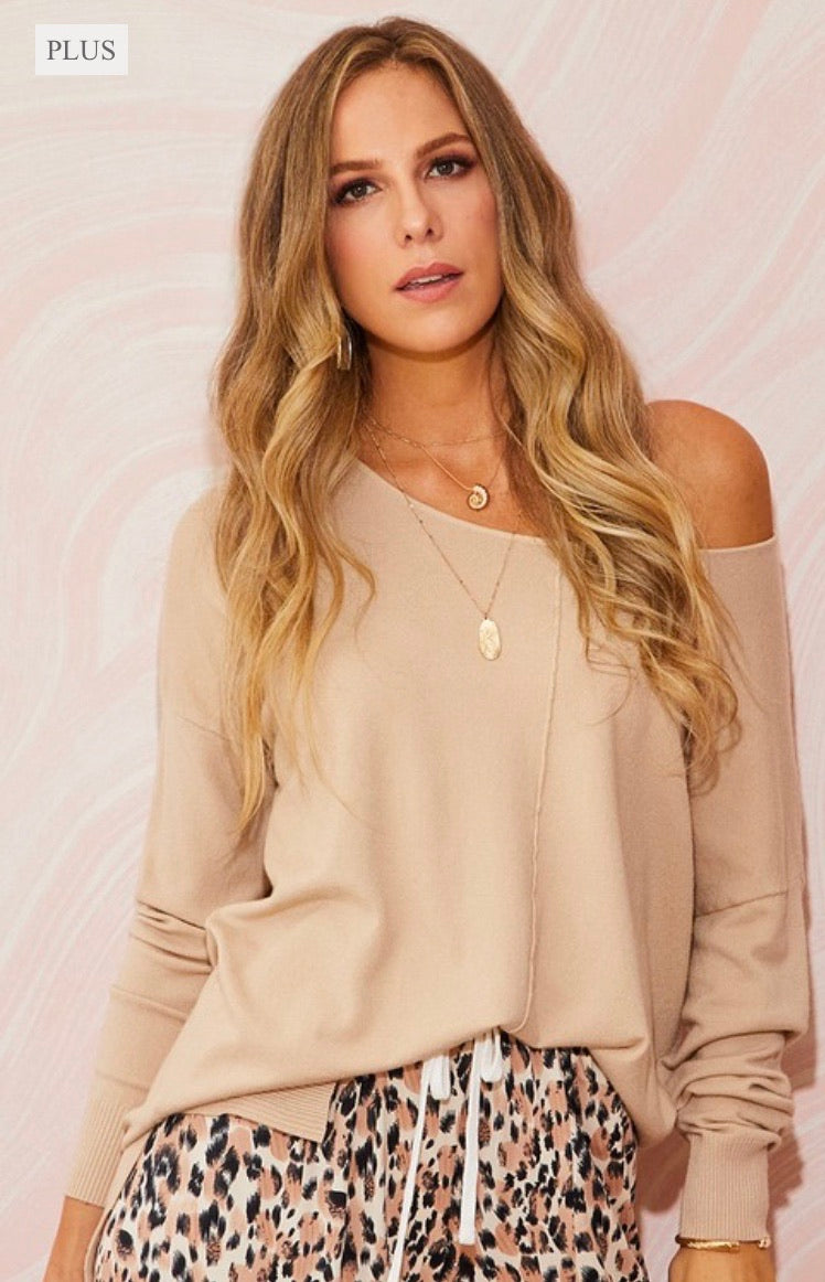 PLUS ONLY | Taupe Knit Sweater