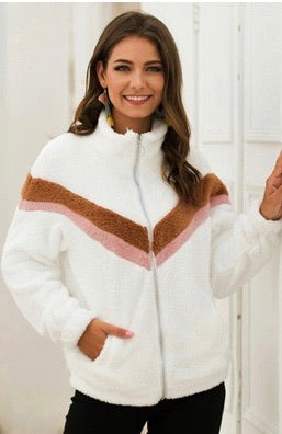 Cozy Colorblock Chevron Jacket
