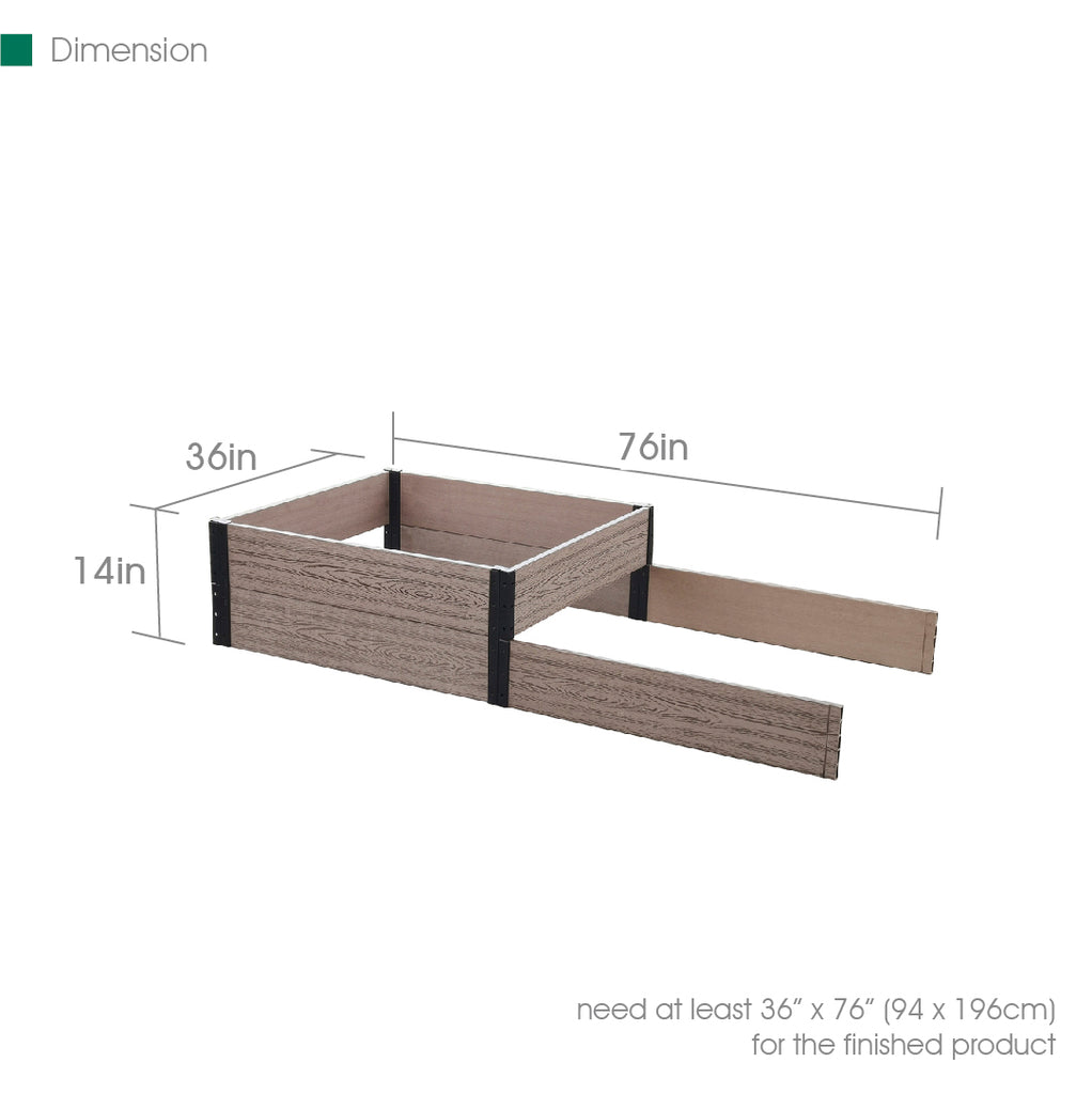 "R0714E36   36"" L x 74""/38"" W x 7""/14"" H Terraced Double Bed Extension"
