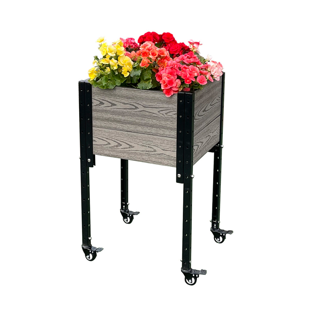 "K2113/G 17"" L x 19"" W x 31"" H Mobile Elevated Corner Planter Box Raised Garden Bed Brown/Gray"