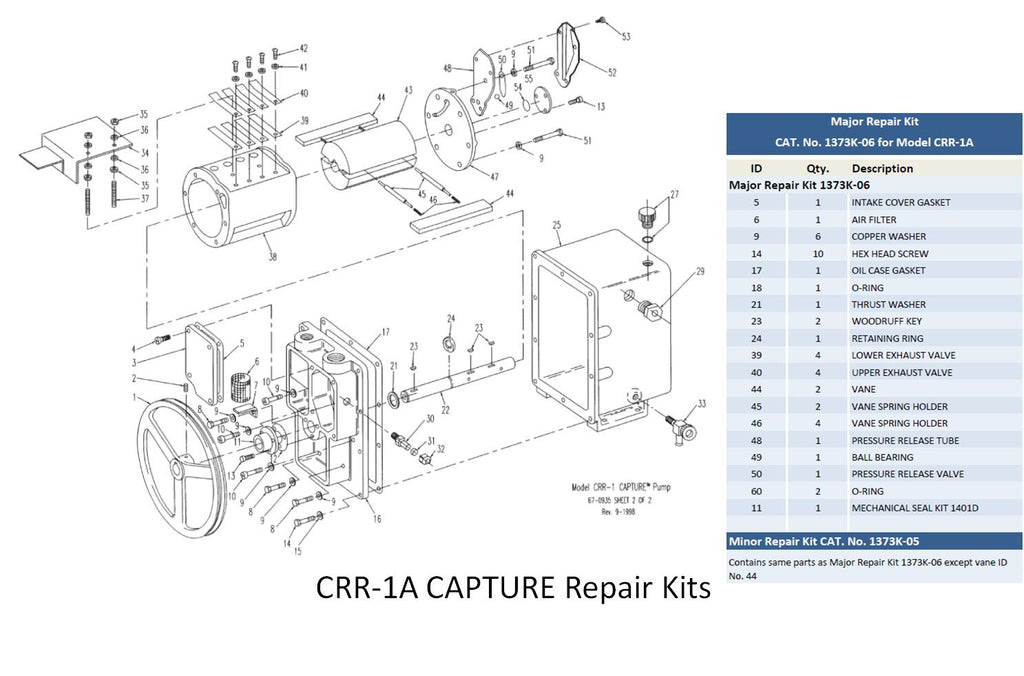 welch crr capture pump major repair kit w mechanical seal 1373k 06 car water pump diagram all parts are welch original equipment manufactured to design specification for top pump durability and performance