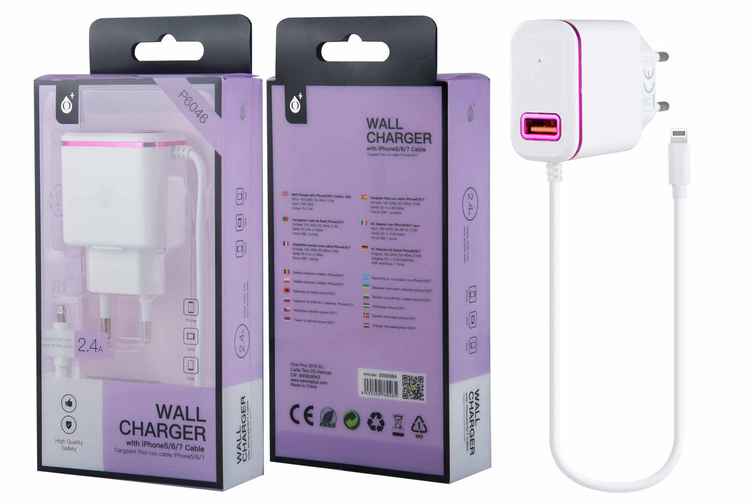 OnePlus wall charger with iPhone 5/6/7 Cable