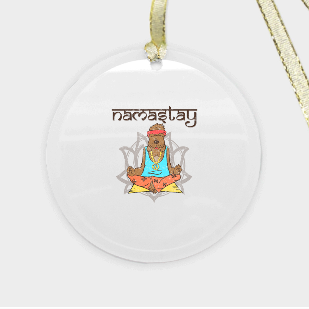 Namastey Dog Ornament - Glass (Round)