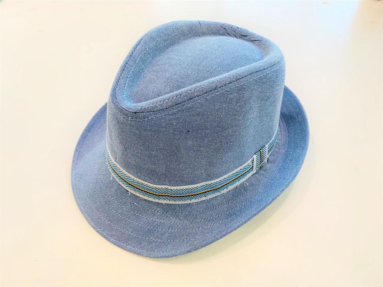 MID Blue Oxford Fedora Hat