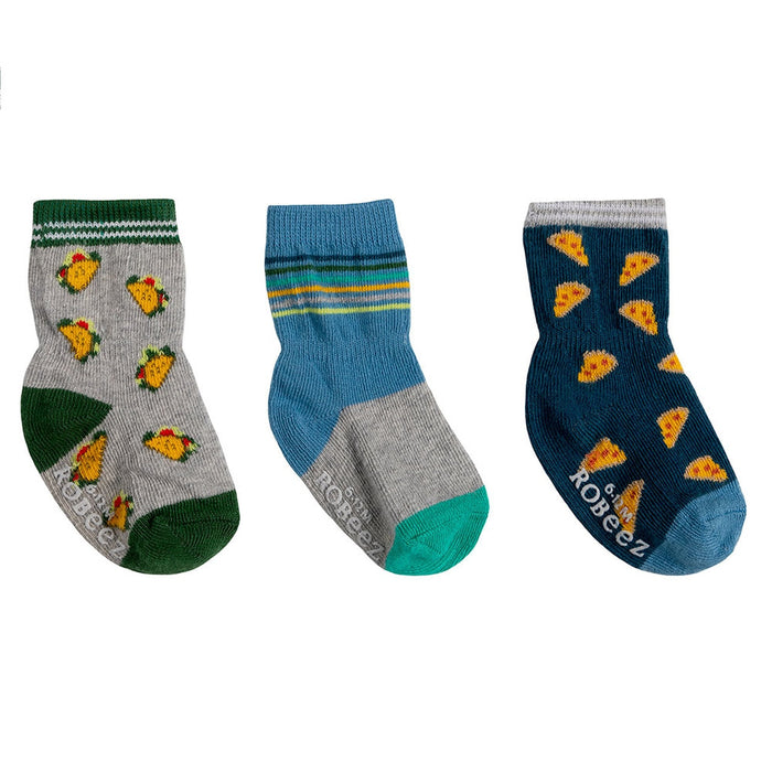 Robeez 3 pk Taco about Pizza Socks