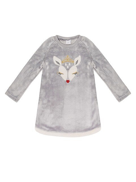 Petit Lem Nightgown Grey Fluffy w/ Reindeer