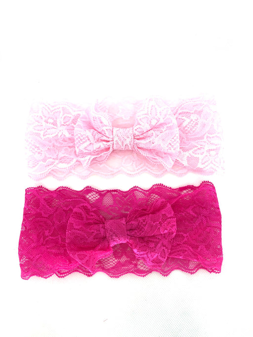 Wide Lace Bow Headband 2pk