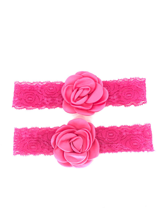Wide Lace Satin Flower Headband 2pk