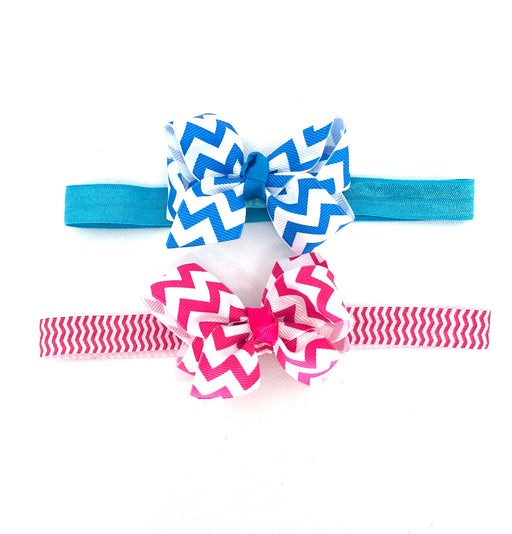 2pk Grosgrain Chevron Bow HB Set