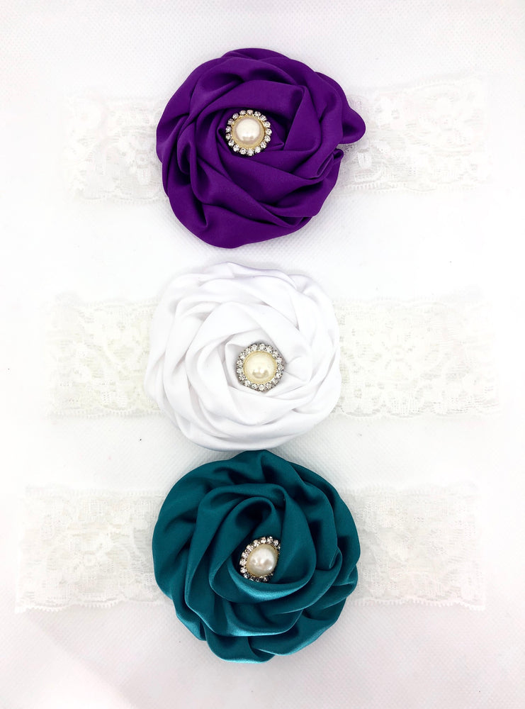 Wide Satin Flower Rosette Headband Set