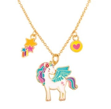 Girl Nation Charming Whimsy Glitter Unicorn Necklace