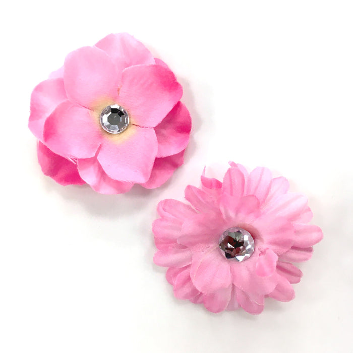 2Pk Gem Flower Clip Set