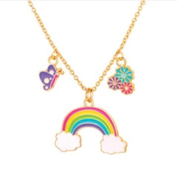 Girl Nation Charming Whimsy Cloud Luvs Rainbow Necklace
