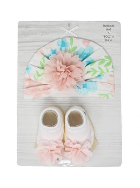 Floral Turban Hat and Bootie 0-9 M