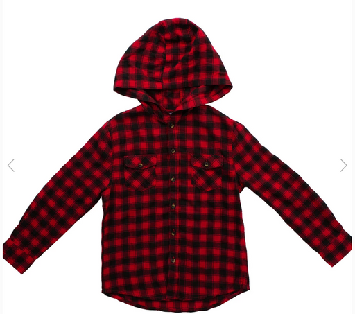 Bear Camp Boys Hooded Plaid Red Shirt