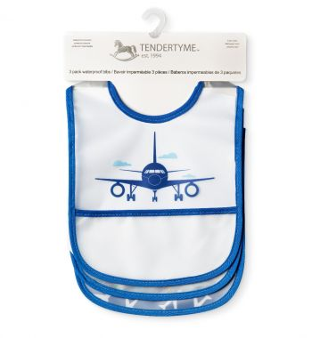 Blue Airplane 3 Pk Waterproof Bib