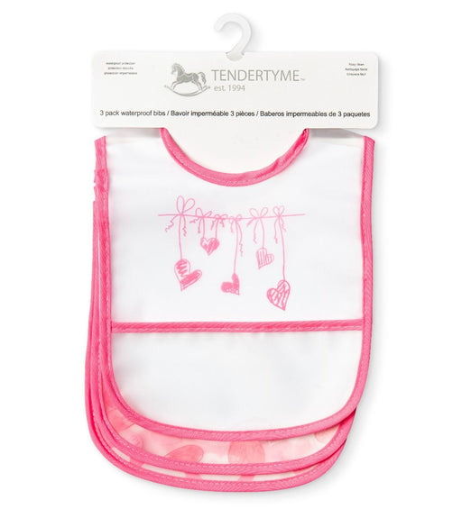 Pink Hearts 3 Pk Waterproof Bib