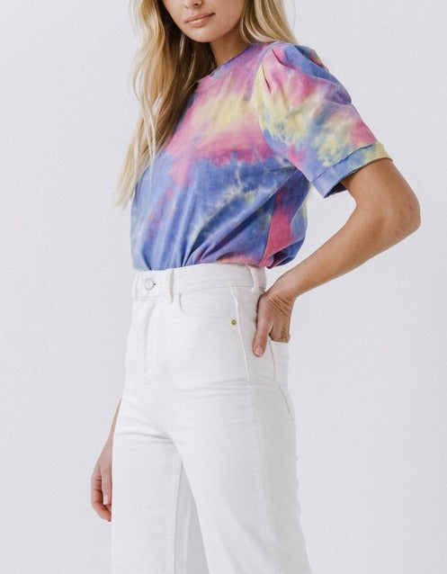 Towanda Tie Dye Puff Sleeve Knit Top