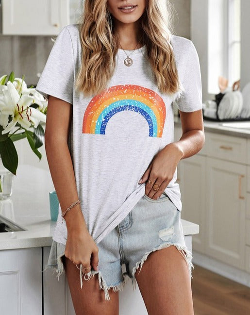 Heather Grey // Pot of Gold Rainbow Graphic Tee