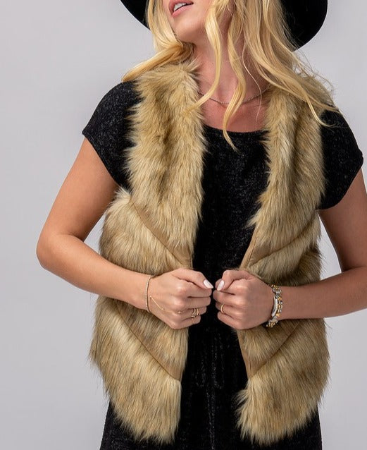Vanity Fur Leather Stripe Fur Vest