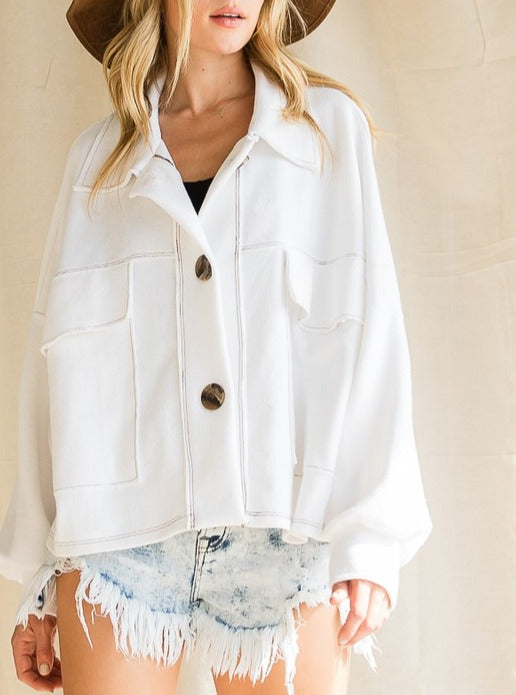 Laurel White Collared French Terry Cropped Button Up