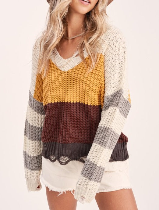 Fall is Happening Color Block Distressed Sweater