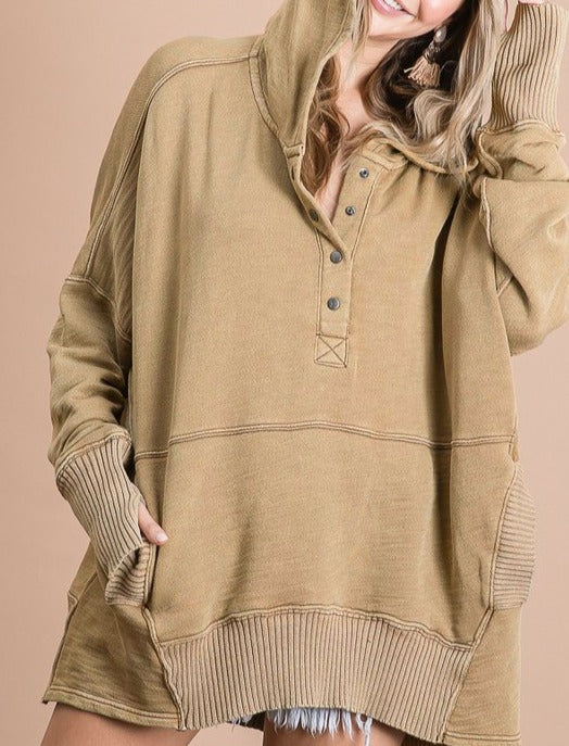 Oh So Cozy Boxy Taupe Hoodie Pullover